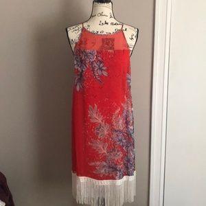 Ella Moss fringe Sheath Dress sheer top